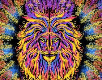 1*1,5 м Огнегривый лев 2 вертикальный формат