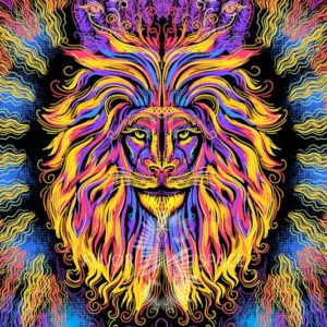"""Psy backdrop """"Sacrament Lion"""" blacklight UV  active fluorescent psychedelic tapestry wall hanging decoration"""