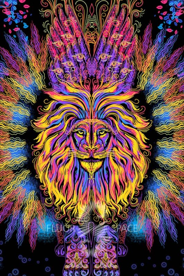 "Psy backdrop ""Sacrament Lion"" blacklight UV active fluorescent psychedelic tapestry wall hanging decoration"