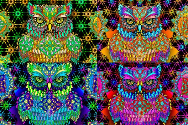 """Psy backdrop """"Wise owl"""" blacklight UV active fluorescent psychedelic tapestry wall hanging decoration"""