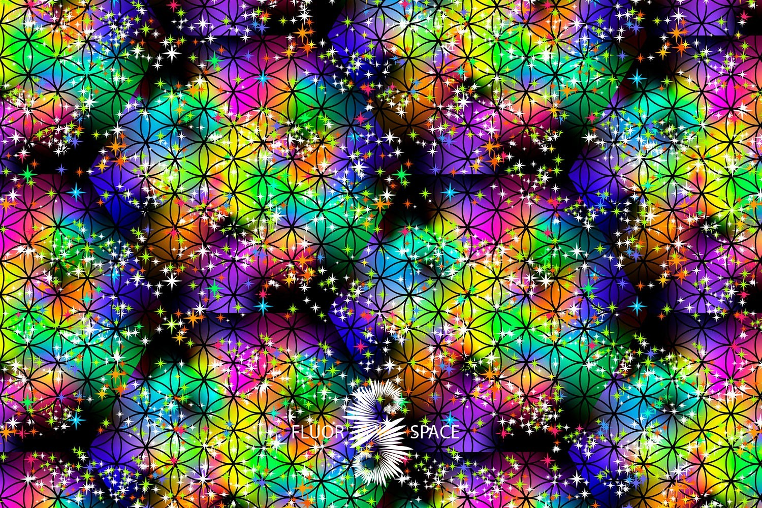 Flower of life Флуоресцентные ткани, fluorescent uv-active fabrics