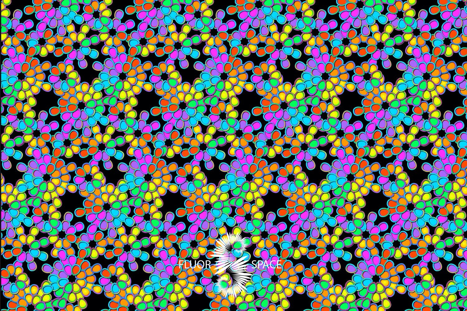 Flower rainbow Флуоресцентные ткани, fluorescent uv-active fabrics