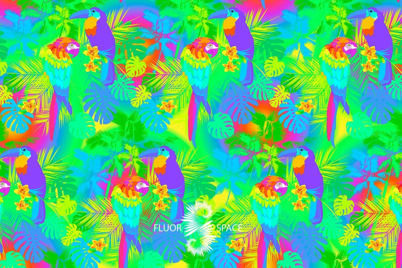 Jungle Флуоресцентные ткани, fluorescent uv-active fabrics
