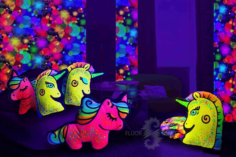 Флуоресцентные подушки-игрушки единороги