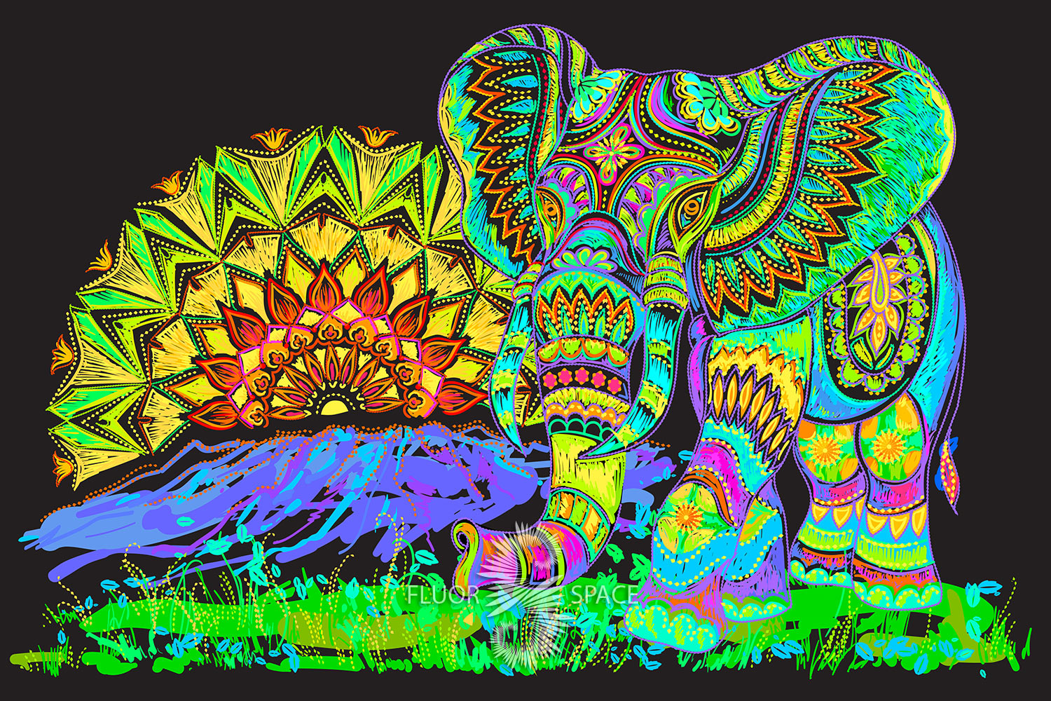 """Psy backdrop """"Lucky Elephant"""" blacklight UV active fluorescent psychedelic tapestry wall hanging decoration"""