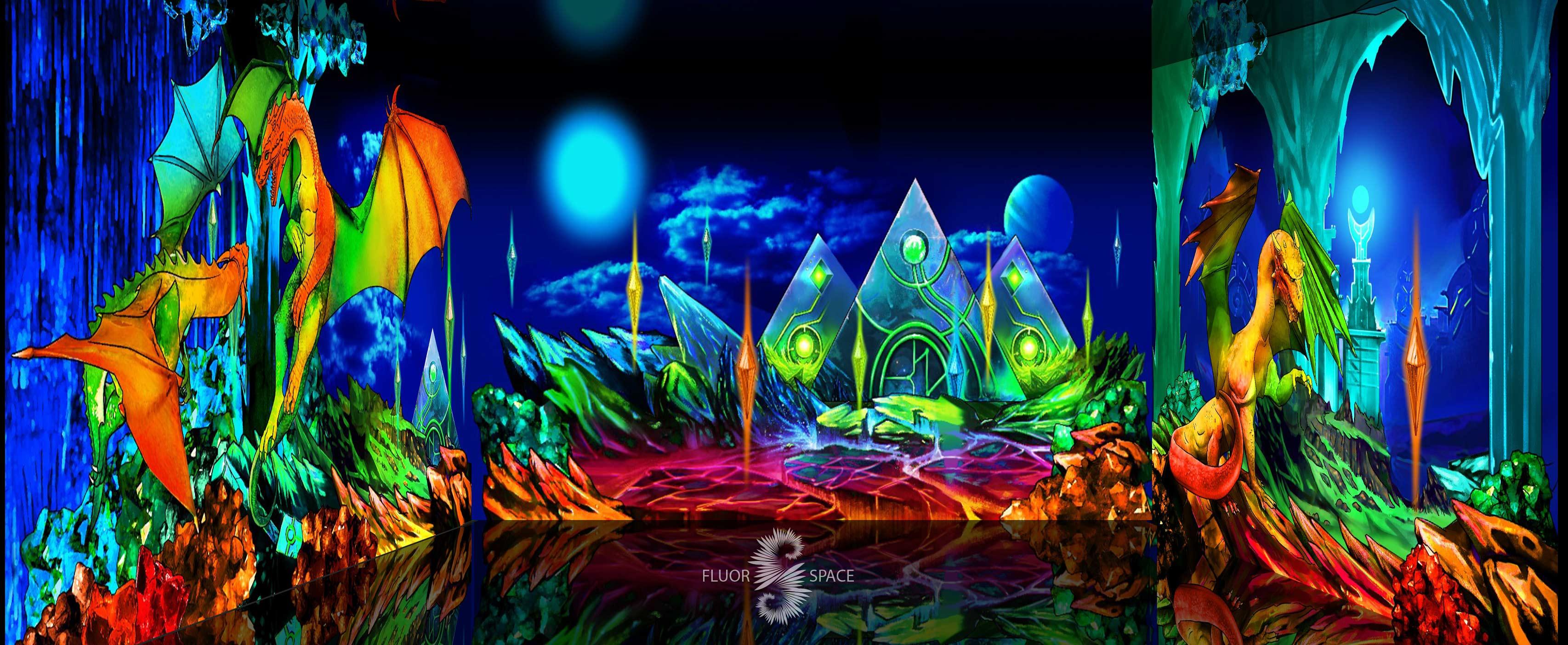 Мир драконов - флуоресцентные хроматические 3D декорации