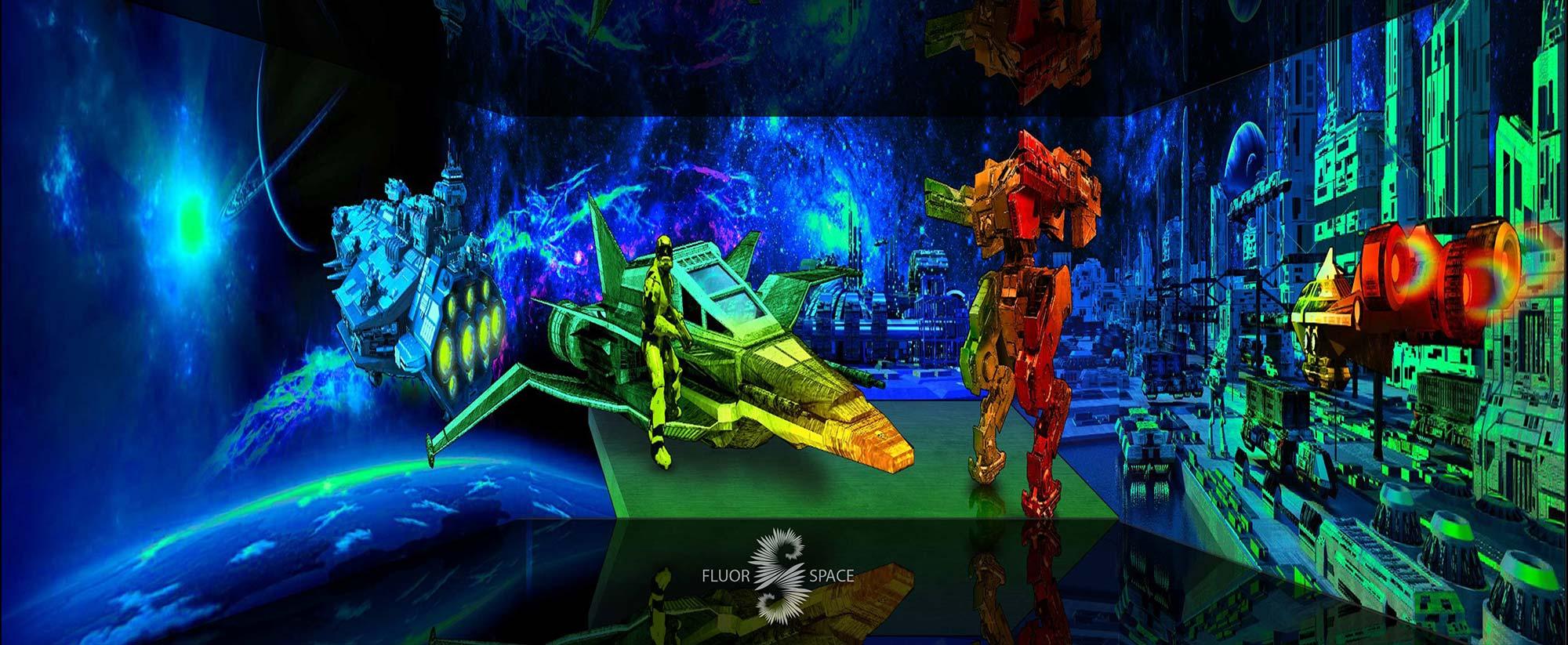 Космический город - флуоресцентные хроматические 3D декорации