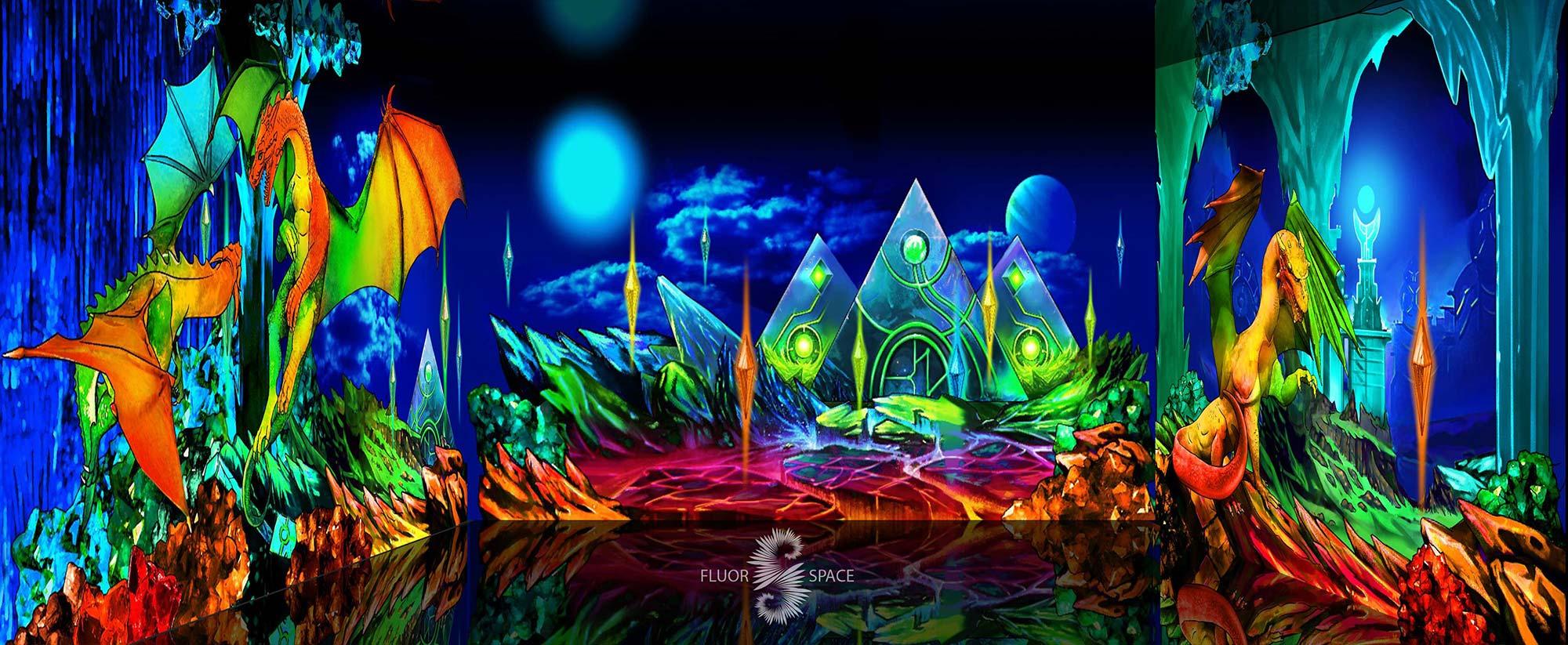 Подземелье драконов - флуоресцентные хроматические 3D декорации