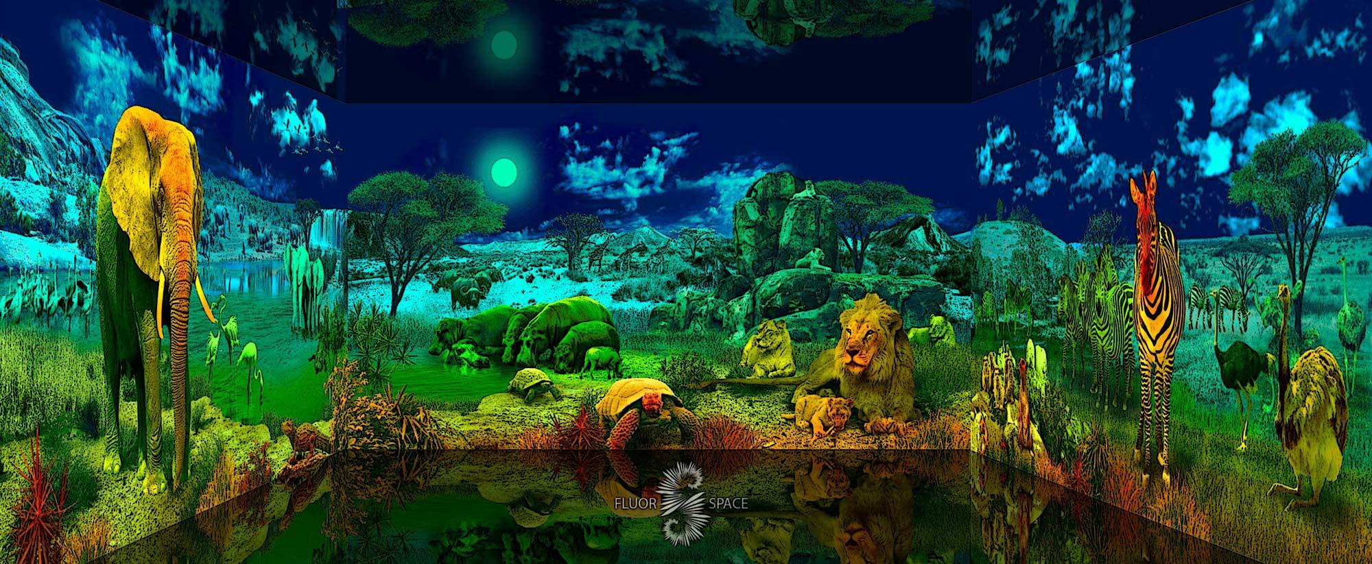 Африканская саванна - флуоресцентные хроматические 3D декорации
