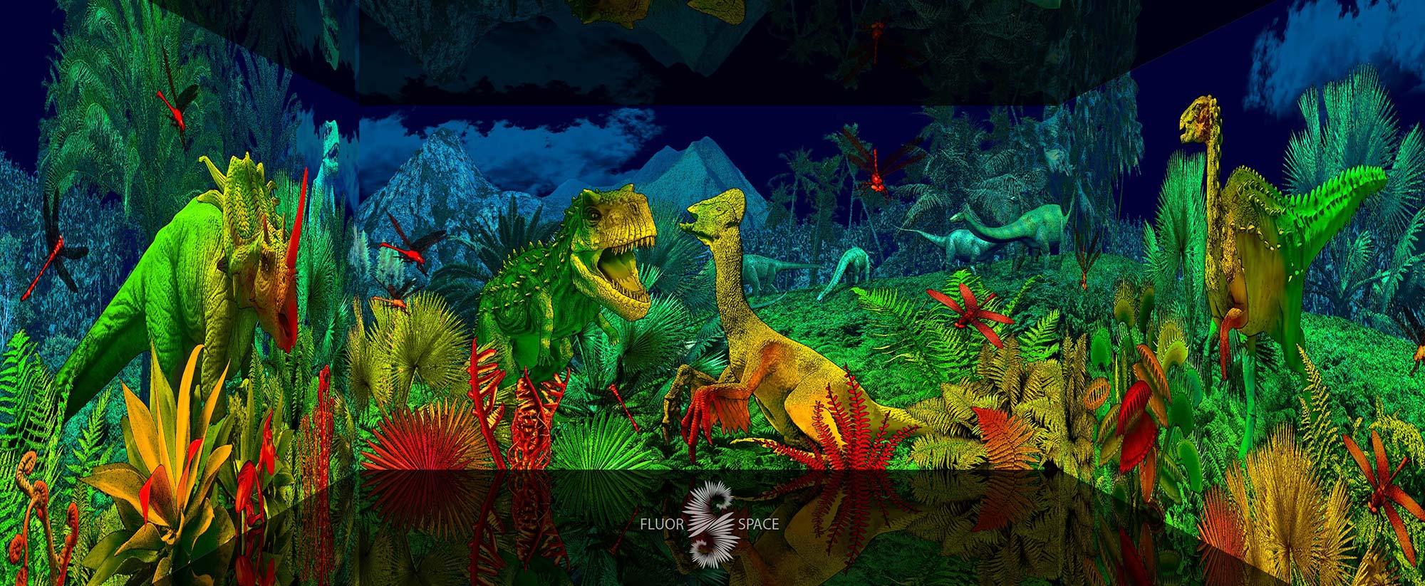 Динозавры - флуоресцентные хроматические 3D декорации