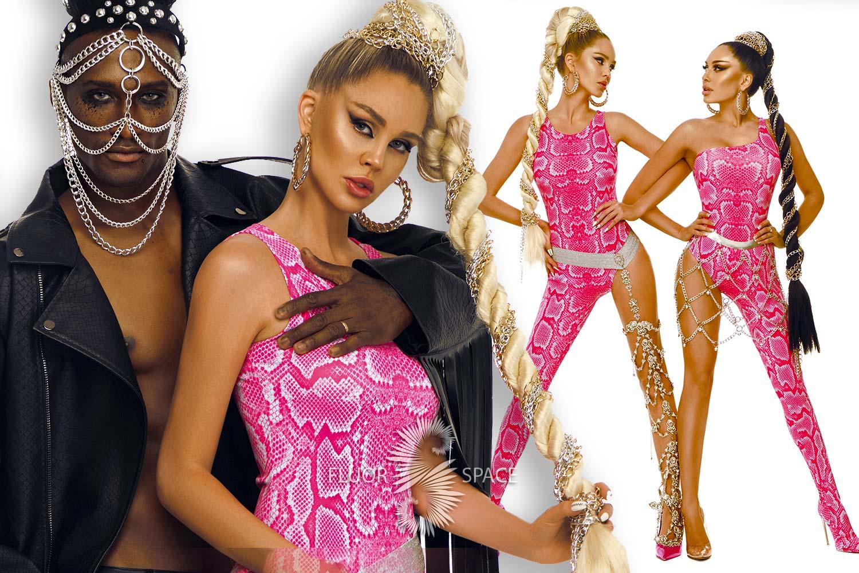 Коллекция модной одежды с разнообразными фактурами ткани