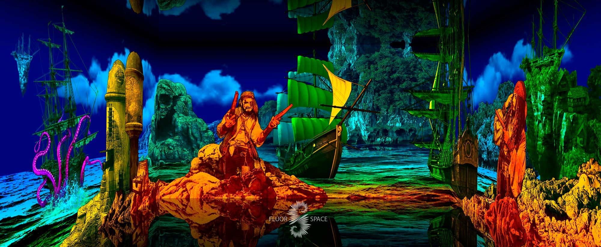 Пиратский остров - флуоресцентные хроматические 3D декорации