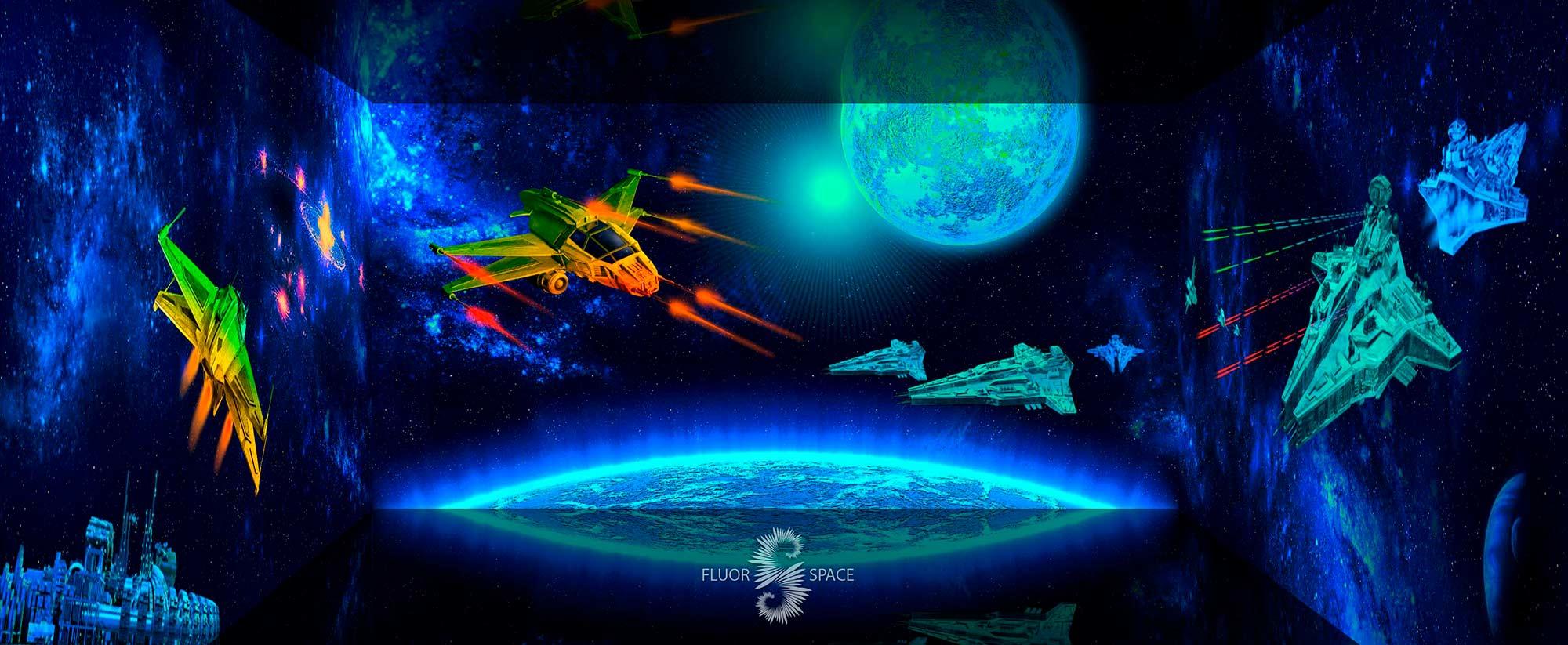 Войны в космосе - флуоресцентные хроматические 3D декорации