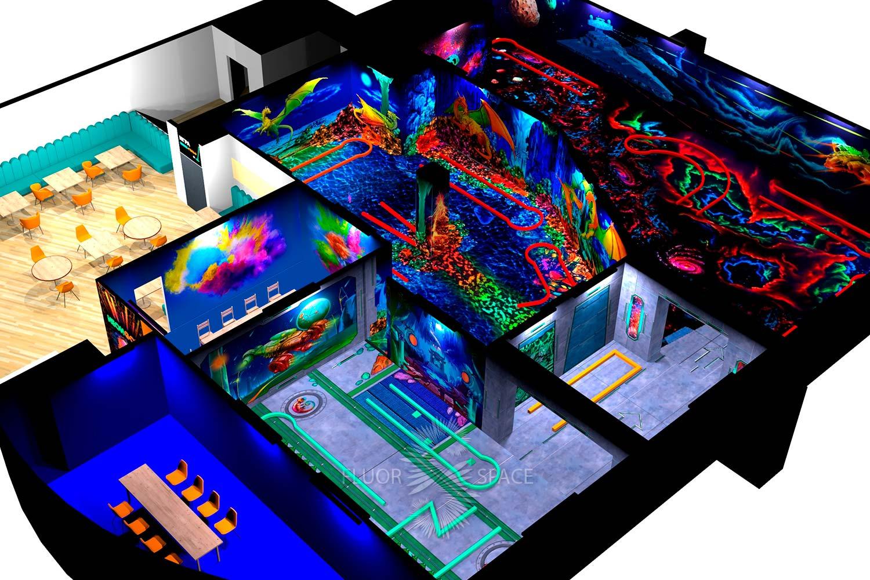 Дизайн-проект декораций NeonGolf в Ривьере