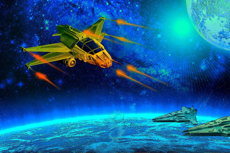 Неоновые 3D декорации Космический город